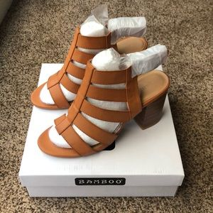 Bamboo Camel Caged Heels Size 8